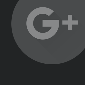 An Google Plus icon on a faded ellipse.